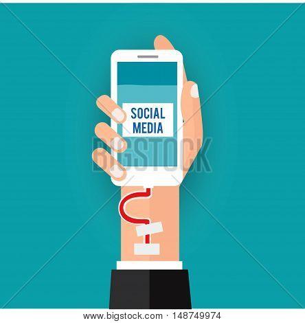 Social addict.Vector illustration business social media concept.