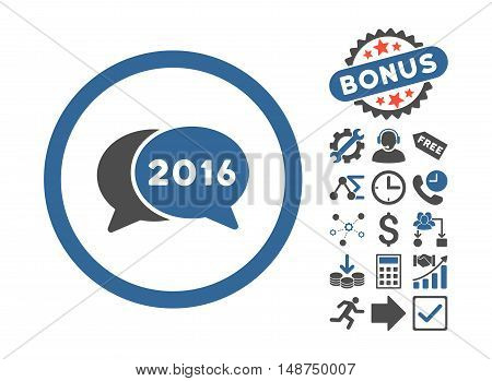 2016 Chat pictograph with bonus images. Glyph illustration style is flat iconic bicolor symbols, cobalt and gray colors, white background.