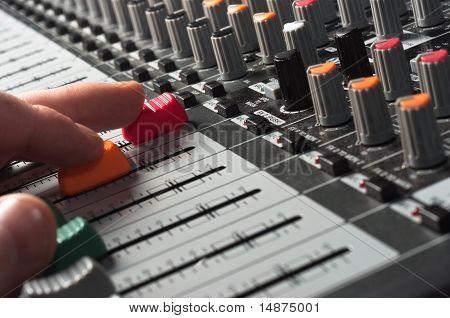 Part Of An Audio Sound Mixer