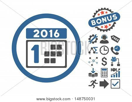 2016 Day icon with bonus pictogram. Glyph illustration style is flat iconic bicolor symbols, cobalt and gray colors, white background.