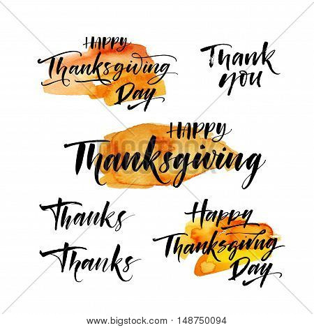 Collection of hand drawn Thanksgiving lettering element. Abstract orange watercolor shape. Hand drawn festive phrase. Ink illustration. Modern brush calligraphy. Isolated on white background.