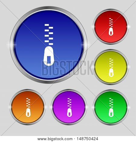 Zipper Icon Sign. Round Symbol On Bright Colourful Buttons. Vector