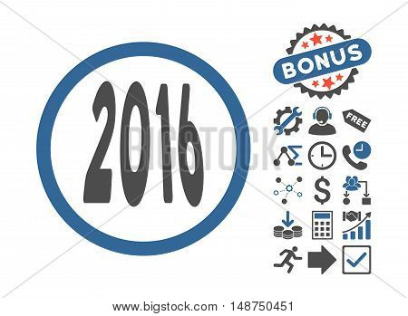 2016 Perspective icon with bonus design elements. Glyph illustration style is flat iconic bicolor symbols, cobalt and gray colors, white background.