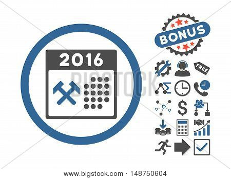 2016 Working Days pictograph with bonus pictogram. Glyph illustration style is flat iconic bicolor symbols, cobalt and gray colors, white background.