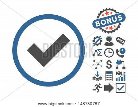 Accept icon with bonus design elements. Glyph illustration style is flat iconic bicolor symbols, cobalt and gray colors, white background.