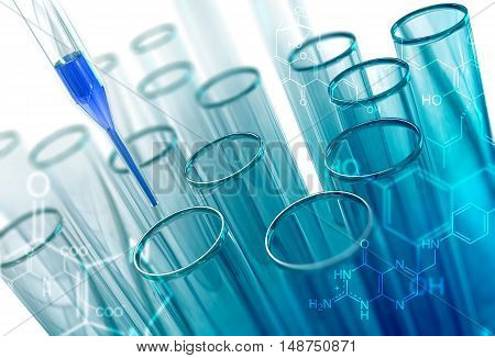 Laboratory Glass Test Tubes Concept 3D Illustration. Chemical Research Concept