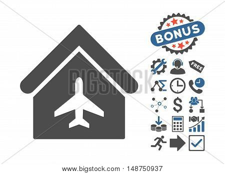 Aircraft Hangar icon with bonus elements. Glyph illustration style is flat iconic bicolor symbols, cobalt and gray colors, white background.