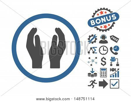 Applause Hands icon with bonus pictograph collection. Glyph illustration style is flat iconic bicolor symbols, cobalt and gray colors, white background.