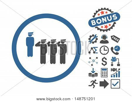 Army Squad pictograph with bonus clip art. Glyph illustration style is flat iconic bicolor symbols, cobalt and gray colors, white background.