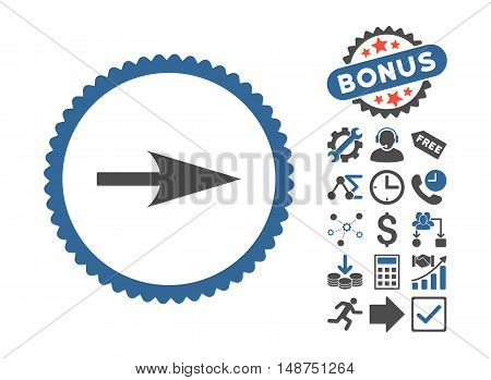 Arrow Axis X icon with bonus pictograph collection. Glyph illustration style is flat iconic bicolor symbols, cobalt and gray colors, white background.