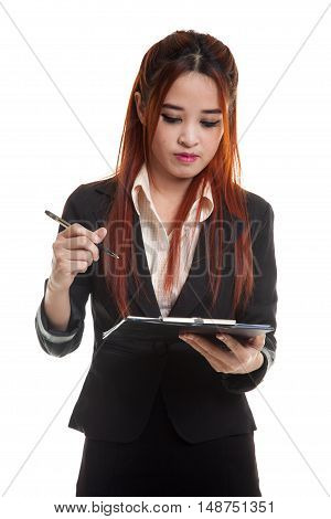 Young Asian Business Woman With Pen And Clipboard.