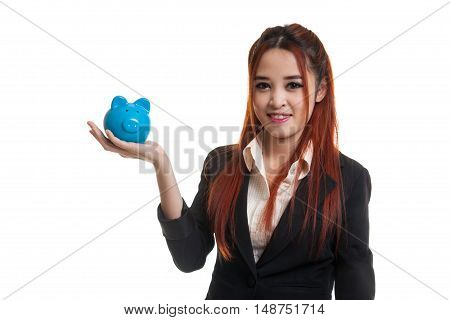 Young Asian Business Woman With A Pig Coin Bank.
