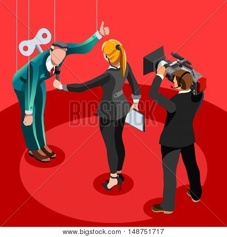 Puppet Speaker delegate journalism communication. 3D Vector isometric people
