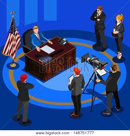 President National tv communication. Vector isometric people