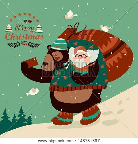 Funny bear taking selfie with happy Santa Claus. Vector illustration
