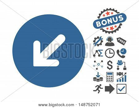 Arrow Left-Down pictograph with bonus pictures. Glyph illustration style is flat iconic bicolor symbols, cobalt and gray colors, white background.