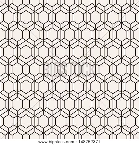 Vector seamless pattern. Modern stylish geometric texture with regularly repeating linear hexagons. Contemporary design