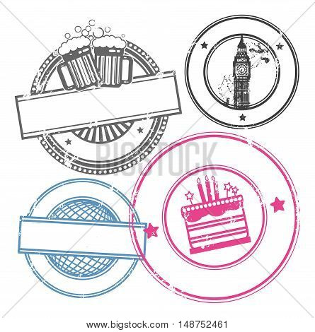 Abstract empty grunge rubber stamp set with space for text, vector illustration