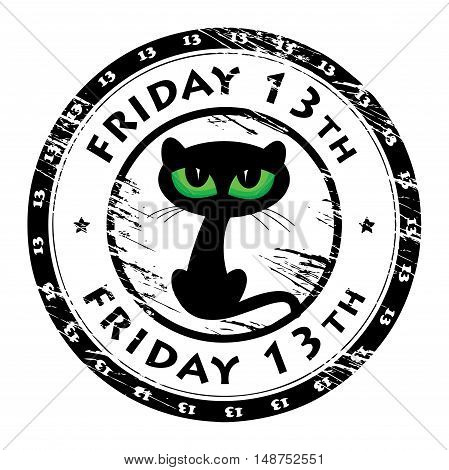 Grunge rubber stamp with black cat and the words Friday 13th inside, vector illustration