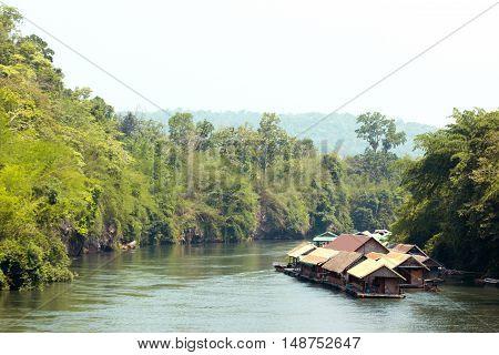 Houseboat float raft downstream at the River Kwai Kanchanaburi Thailand