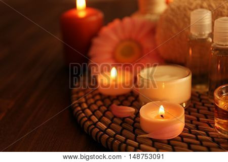Composition of spa treatments and gerbera flower