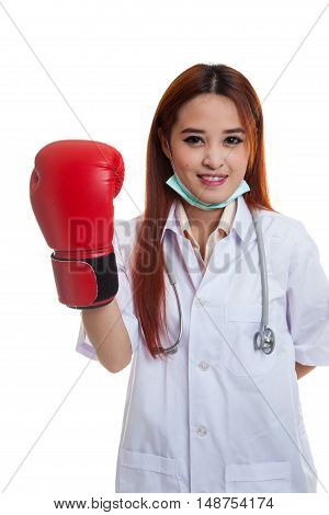 Young Asian Female Doctor With Boxing Glove.