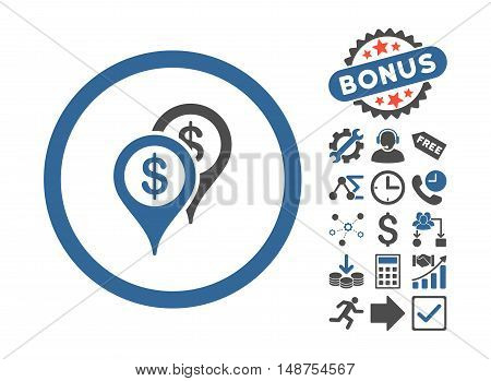 Bank Places pictograph with bonus design elements. Glyph illustration style is flat iconic bicolor symbols, cobalt and gray colors, white background.
