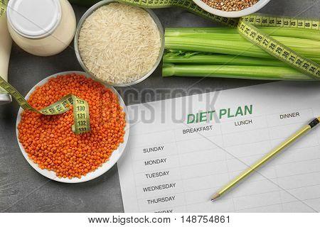 Healthy food. Diet plan concept