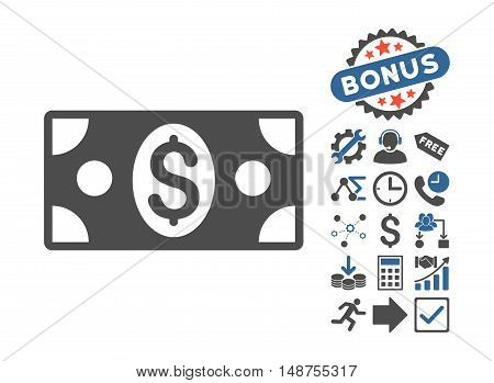Banknote icon with bonus pictures. Glyph illustration style is flat iconic bicolor symbols, cobalt and gray colors, white background.