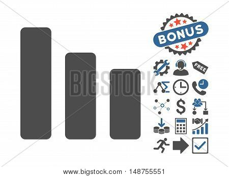 Bar Chart Decrease pictograph with bonus icon set. Glyph illustration style is flat iconic bicolor symbols, cobalt and gray colors, white background.