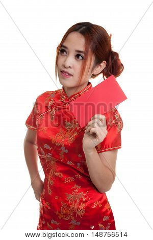 Asian Girl In Chinese Cheongsam Dress With Red Envelope.
