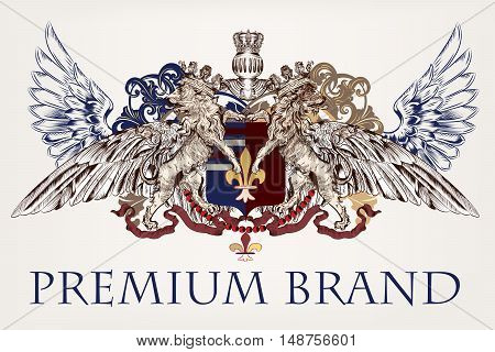 Heraldic antique design with lions shield and coat of arms. Ideal for brands identity or logotype