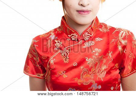 Close Up Of Asian Girl In Chinese Cheongsam Dress.