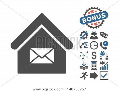 Post Office pictograph with bonus clip art. Glyph illustration style is flat iconic bicolor symbols, cobalt and gray colors, white background.