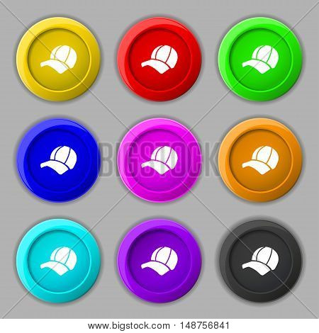 Ball Cap Icon Sign. Symbol On Nine Round Colourful Buttons. Vector