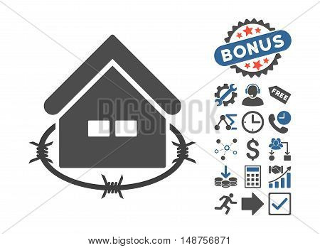 Prison Building pictograph with bonus icon set. Glyph illustration style is flat iconic bicolor symbols, cobalt and gray colors, white background.