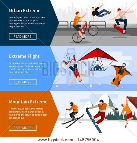 Colorful horizontal banners with people doing extreme sports such as parkour paragliding and snowboarding isolated vector illustration