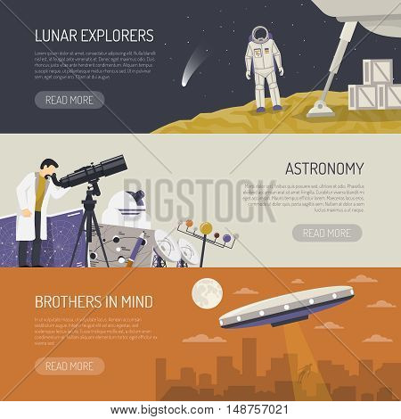 Astronomy horizontal banners set of lunar explorers observatory equipment for space research and ufo images flat vector illustration