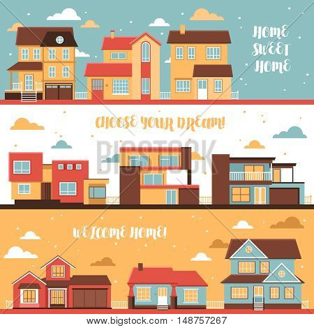 Cottage and village houses horizontal banners in cartoon style on cloud sky background flat vector illustration