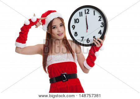 Asian Christmas Santa Claus Girl  Point To Clock At Midnight.