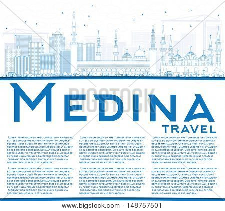 Outline Medina Skyline with Blue Buildings and Copy Space. Business Travel and Tourism Concept with Historic Buildings. Image for Presentation Banner Placard and Web Site.