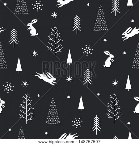 seamless Christmas pattern, black and white background, vector graphic