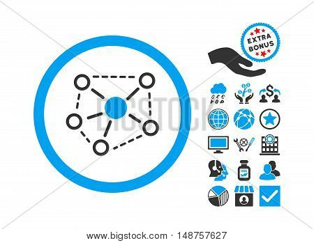 Molecule Links icon with bonus design elements. Glyph illustration style is flat iconic bicolor symbols, blue and gray colors, white background.