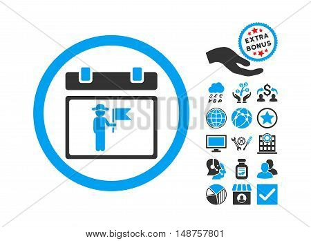 National Holiday Day pictograph with bonus elements. Glyph illustration style is flat iconic bicolor symbols, blue and gray colors, white background.