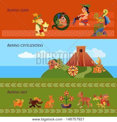 Maya horizontal banners set with gods civilization and art symbols flat isolated vector illustration