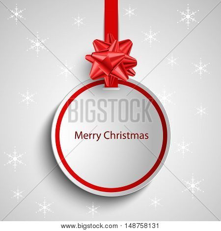 Christmas card with red round sign pointer template vector eps 10
