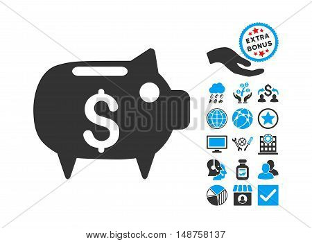 Piggy Bank icon with bonus pictogram. Glyph illustration style is flat iconic bicolor symbols, blue and gray colors, white background.