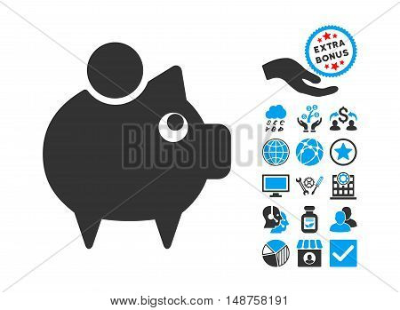 Piggy Bank pictograph with bonus images. Glyph illustration style is flat iconic bicolor symbols, blue and gray colors, white background.