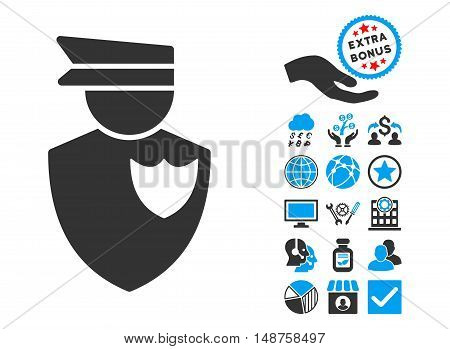 Policeman pictograph with bonus icon set. Glyph illustration style is flat iconic bicolor symbols, blue and gray colors, white background.