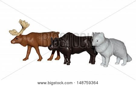 Toy Elk And Buffalo Wolf On A White Background